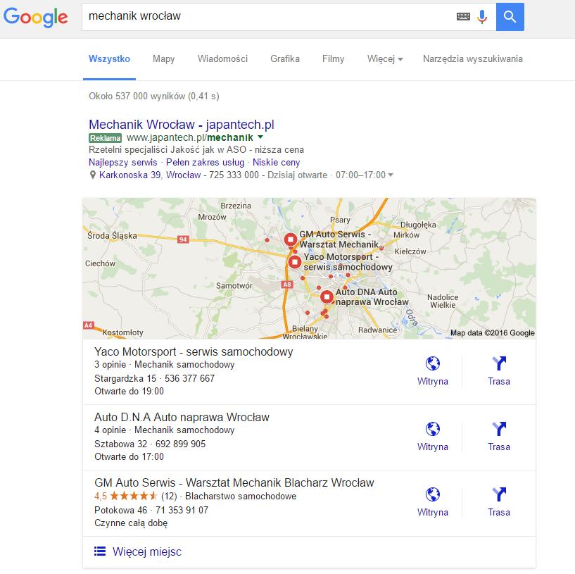 """Wyniki wyszukiwania dla frazy """"mechanik Wrocław"""