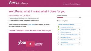 Na Yoast Acaademy znajdziesz m.in. kurs podstaw WordPressa.