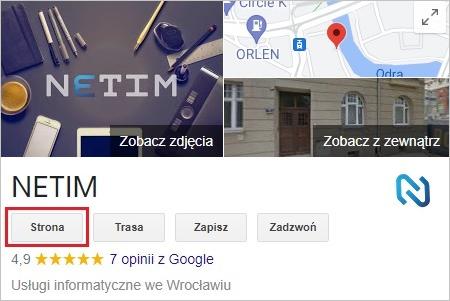 Link do strony w wizytówce Google
