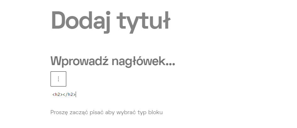 Nagłówek H2 html w WordPressie