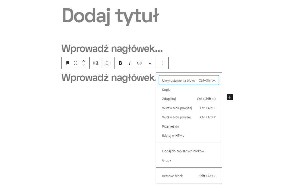 Nagłówek html w WordPressie